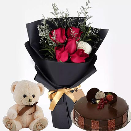 Chocolate Cake with Soft Toy & flowers: Flowers and Cakes Combo