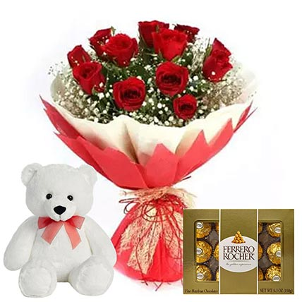 Chocolate with Red Roses & Teddy Bear: Flowers and Chocolates Combos