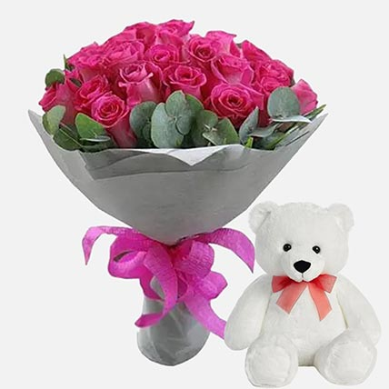 Lovely Roses & Soft Toy Combo: Gift Hampers