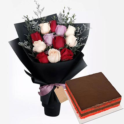 Red Velvet Cake with Roses Bunch: Flowers and Cakes Combo