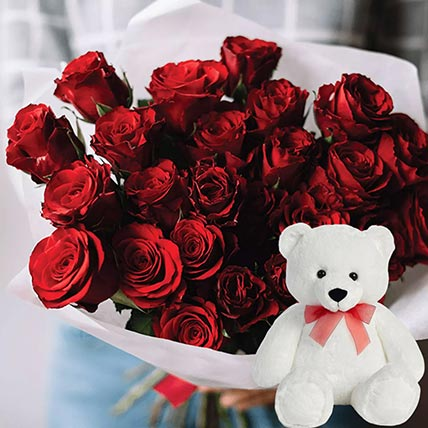 Soft Toy & Red Roses Bouquet: