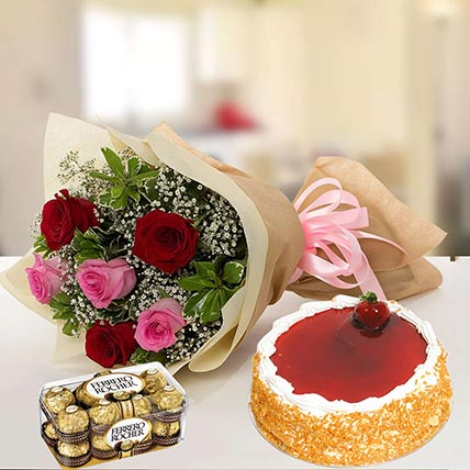Strawberry Cake with Mixed Roses & Chocolates: Flowers and Cakes