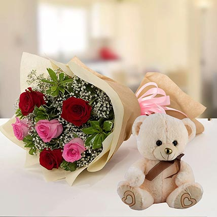 Teddy Bear & Roses Combo: Midnight Gifts Delivery