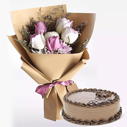 Choco Butter Cream Cake with Mixed Flowers: Flowers and Cakes