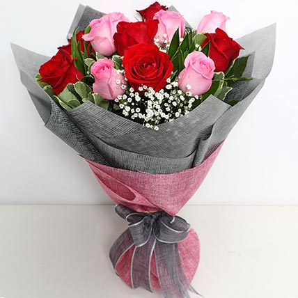 Pink and Red Roses Grand Bouquet:  New Year Gifts