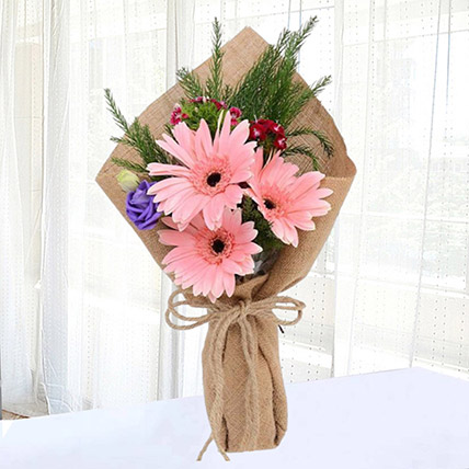 Pink Gerberas Chic Bunch: Same Day Gift Delivery In Qatar