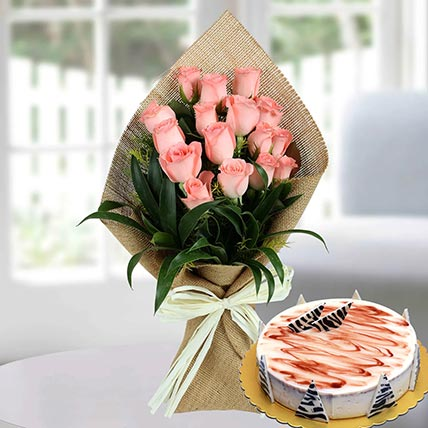 Baby Pink Roses & Choco Vanilla Cake: Flowers and Cakes