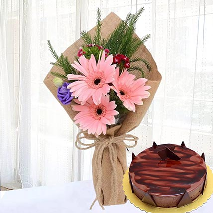 Pink Gerberas & Chocolate Ganache Cake: Flowers and Cakes