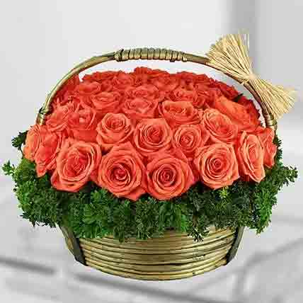 Stems Orange Roses Basket: Rose Flowers