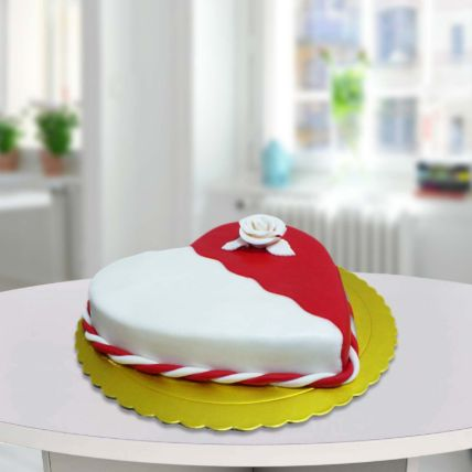Red And White Heart Shape Cake: Fondant Cake