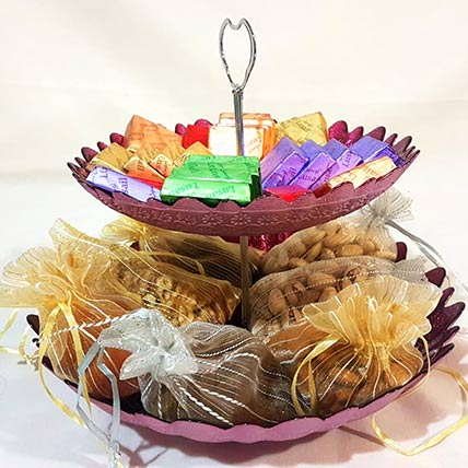Dry Fruits & Chocolates Two Tier Hamper: Gift Hamper Baskets