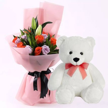 Orange & Purple Roses with Teddy Bear- 18 Inches: Midnight Gifts Delivery In Qatar