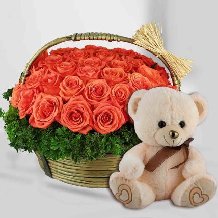 Orange Roses with Teddy Bear:
