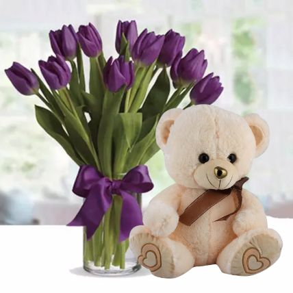 Purple Tulips with Teddy Bear: