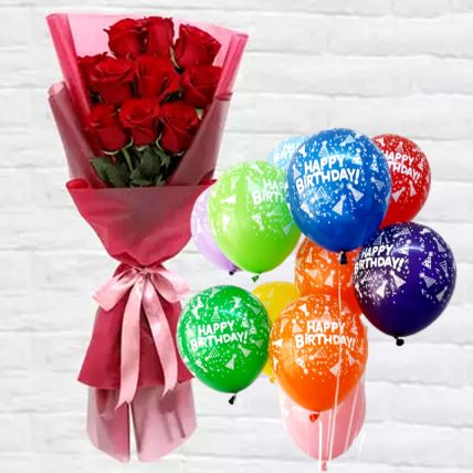 Red Roses Bunch with Latex Balloons: