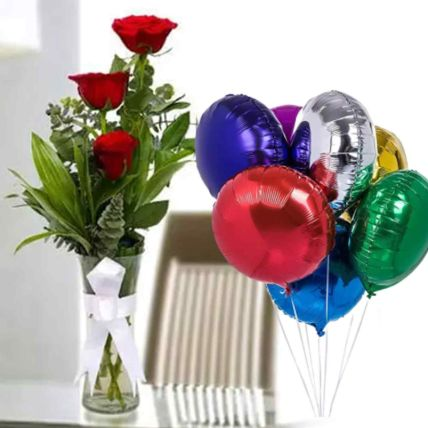Red Roses Vase Arrangement with Foil Balloons: Balloons