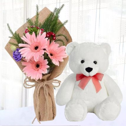 Jute Wrapped Pink Gerberas with Teddy Bear: Flowers N Teddy Bears