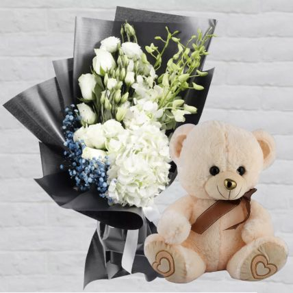 Mixed Flowers & Teddy Bear Combo: