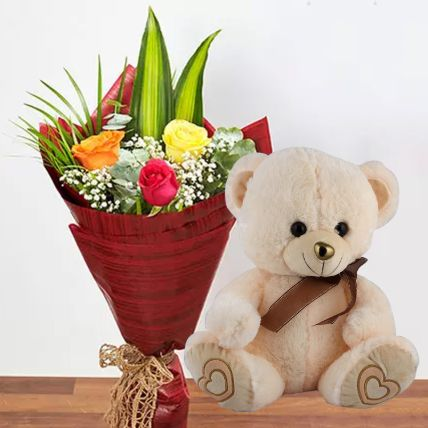 Mixed Roses & Teddy Bear Combo: Flowers N Teddy Bears