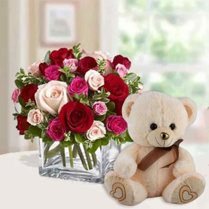 Mixed Roses with Teddy Bear: Flowers N Teddy Bears