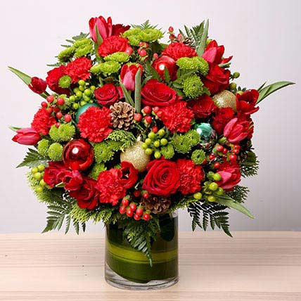 Exotic Flowers Vase Arrangement: Christmas Gifts