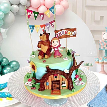 Masha And Bear Theme Cake: Fondant Cake