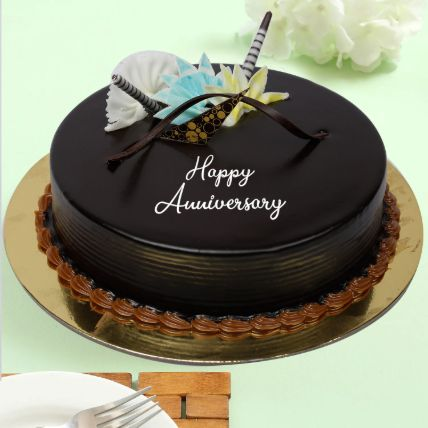 Delicious Anniversary Dark Chocolate Cake: Send Chocolates Cakes to Qatar