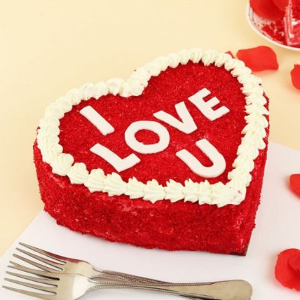 I Love You Heart Shape Red Velvet Cake: Propose Day Gifts