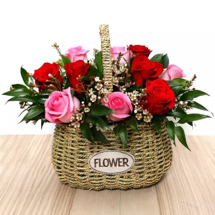 Red and Pink Roses Mini Basket: Flower Basket Arrangements
