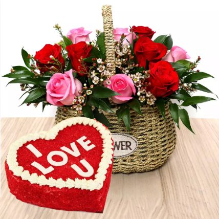 I Love You Red Velvet Cake And Roses Basket: Propose Day Gifts