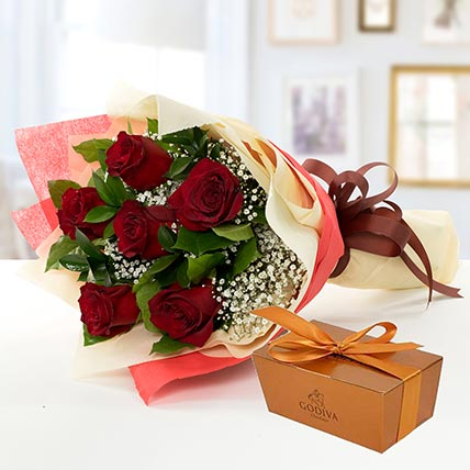 6 Red Roses and Godiva Chocolate Combo: Flowers and Chocolates Combos
