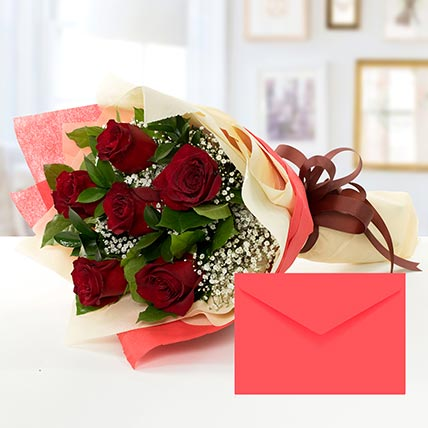 6 Red Roses Bouquet With Greeting Card: Gift Hamper Baskets