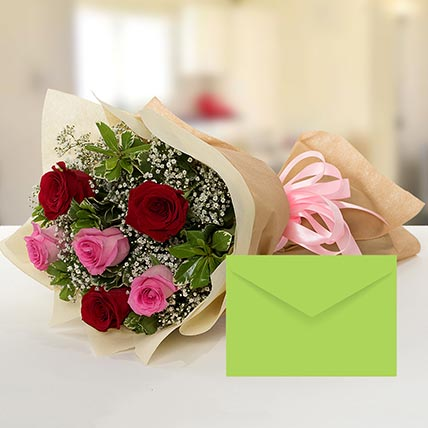Attractive Roses Bouquet With Greeting Card: Gift Hamper Baskets
