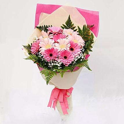Beautiful Pink Gerbera Bouquet: Womens Day Flowers Qatar