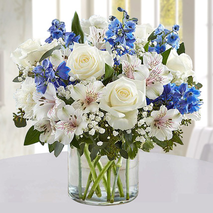 Blue and White Floral Bunch In Glass Vase: Midnight Gifts Delivery