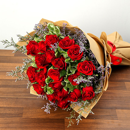 Bouquet Of 20 Red Roses: Midnight Gifts Delivery