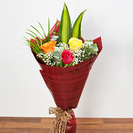 Bouquet Of Multicolored Roses: Midnight Gifts Delivery