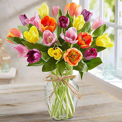 Colourful Tulips In Glass Vase: Midnight Gifts Delivery In Qatar
