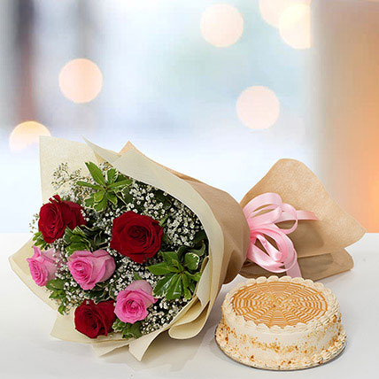 Delightful Roses Bouquet With Butterscotch Cake: Flowers and Cakes