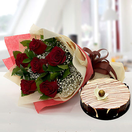 Enchanting Rose Bouquet With Marble Cake: Red Roses