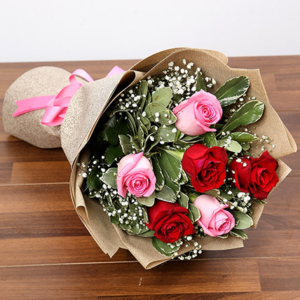 Pink and Red Roses Bouquet: