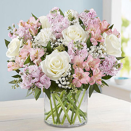Pink and White Floral Bunch In Glass Vase: Happy Mothers Day Flower Bouquet