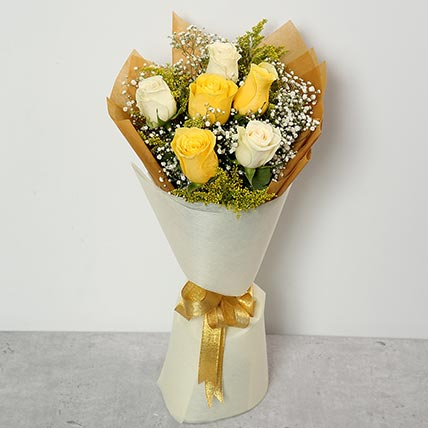 White and Yellow Roses Bouquet:  Flower Bouquet
