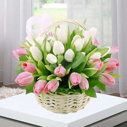 Pink White Tulips Basket: Flower Basket Arrangements