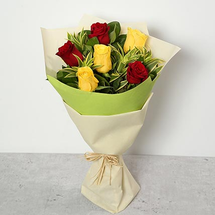 Red and Yellow Roses Bouquet: Flower Bouquet In Qatar