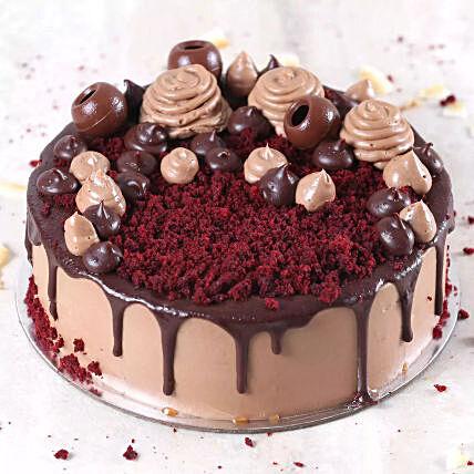 Eggless Chocolaty Red Velvet Cake: Buy Eggless Cakes In Qatar