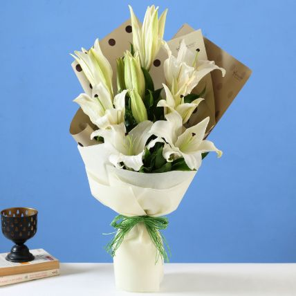 Bright White Oriental Lilies Bouquet: Lily Flowers