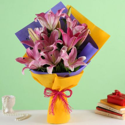 Enchanting Pink Oriental Lilies Bouquet: Lily Flowers