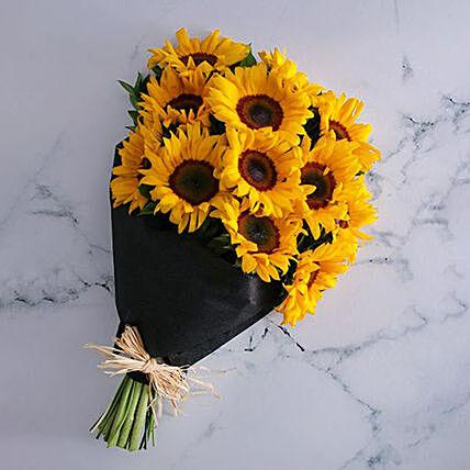 Blissful Sunflowers Beautifully Tied Bouquet: Sunflower Bouquet