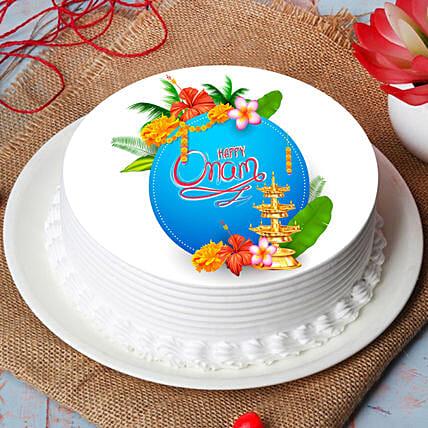 Delicious Happy Onam Photo Cake: